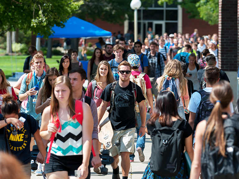Students on the Boise State campus