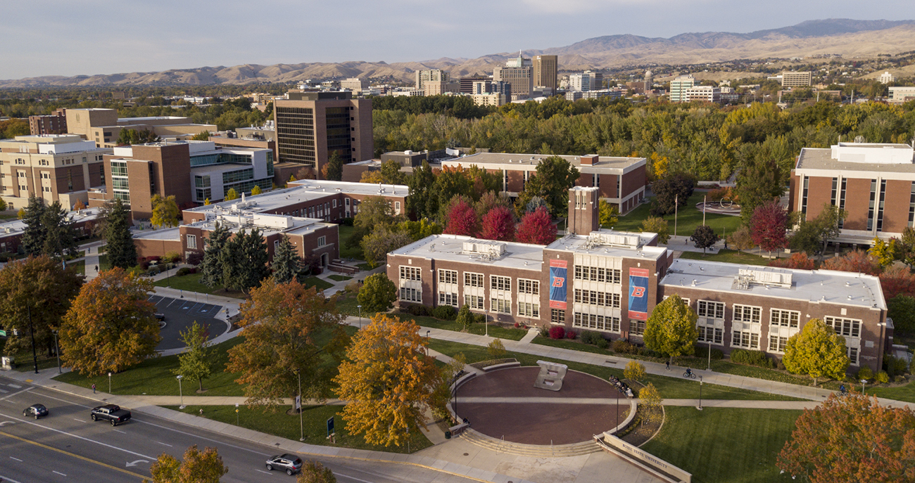 Aerial of campus with Boise downtown area in background
