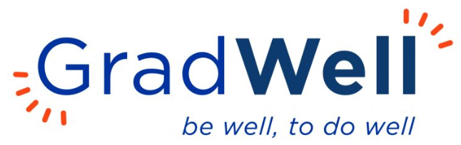 "GradWell Logo that says ""GradWell: Be Well to do Well"""