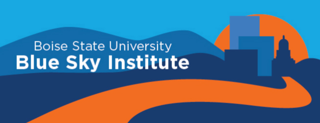 "Animated photo of Downtown boise in Blue and Orange with words written ""Boise State University Blue Sky Institute"""