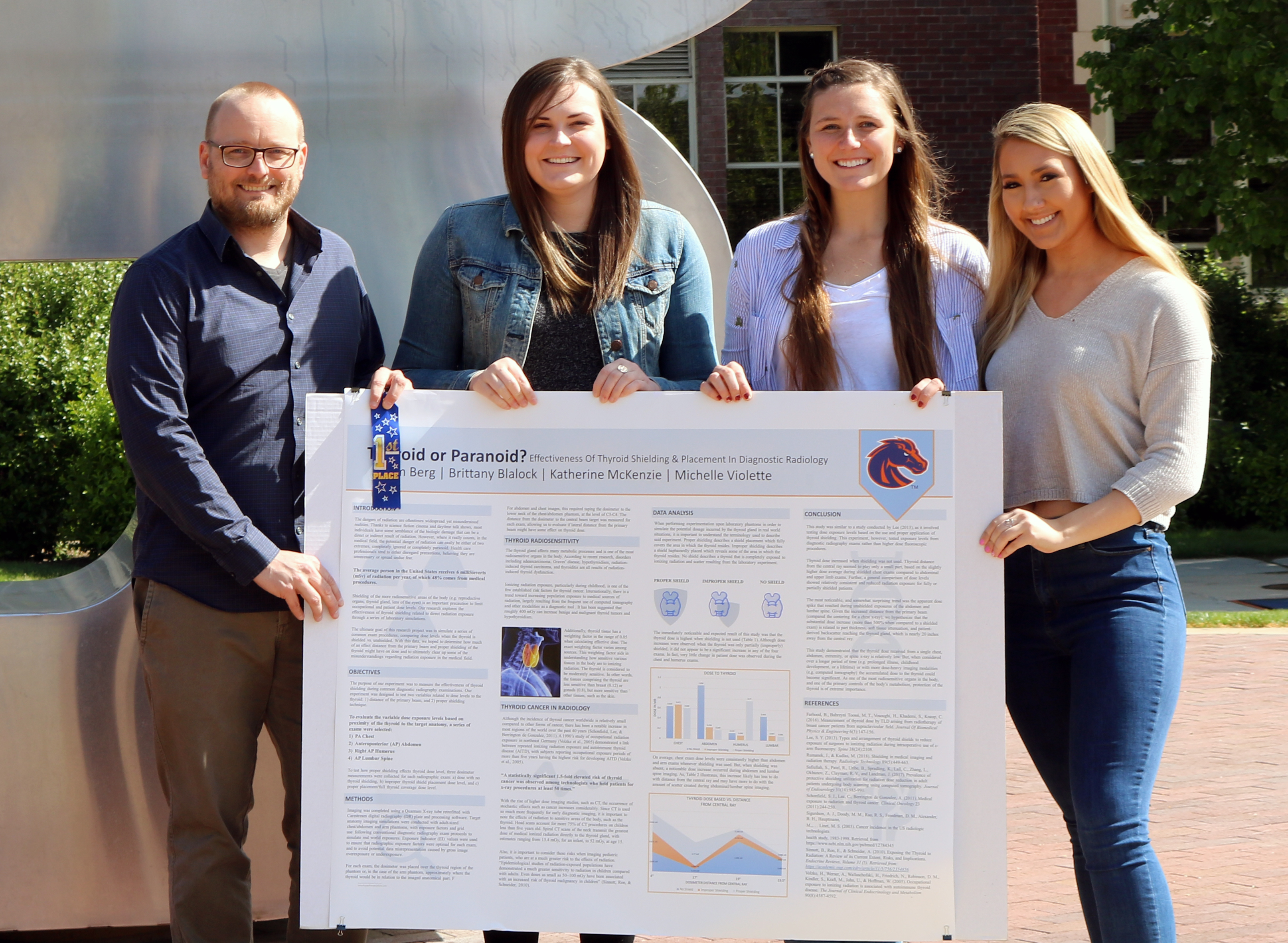 Students who won first place with their poster