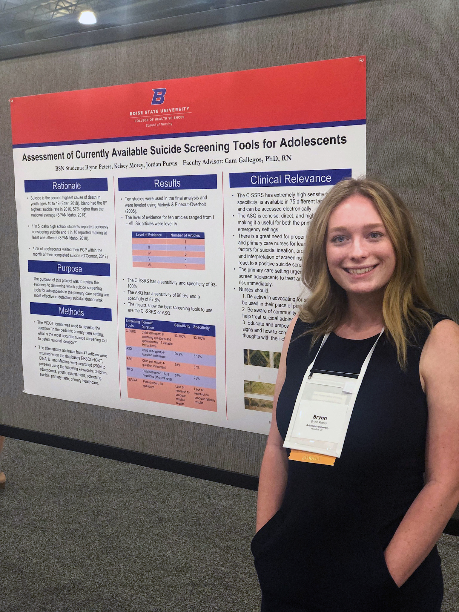 "Brynn Peters with her poster ""Assessment of Suicide Screening Tools for Adolescents"""