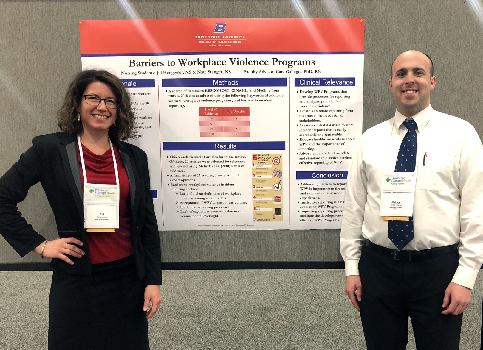 "Jill and Nate infront of their research poster ""Barriers to Accurate Reporting of Workplace Violence"""