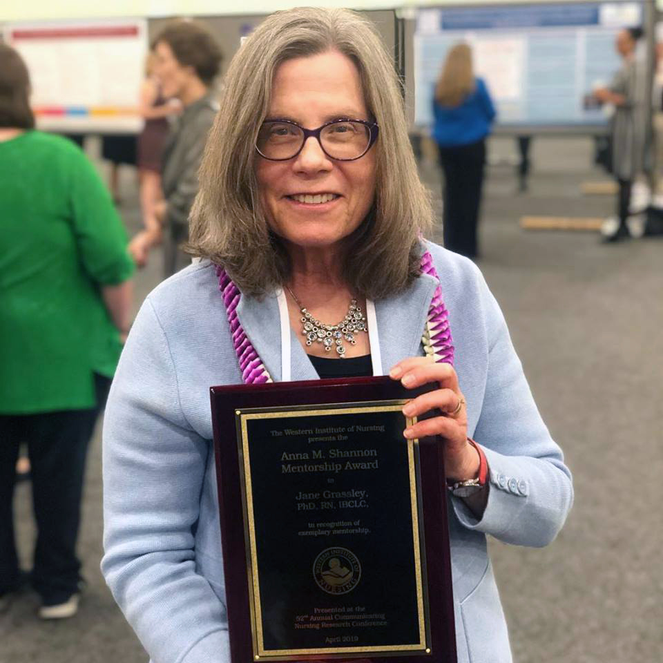 Jane Grassley with her award