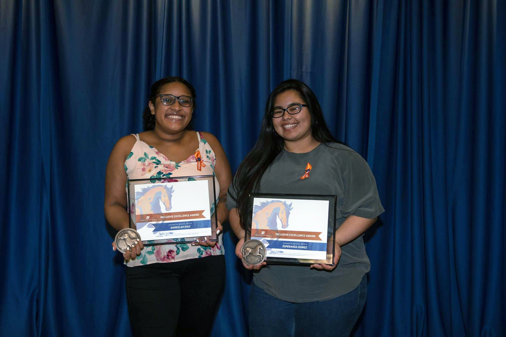 Kameelah and Esperansa with their awards