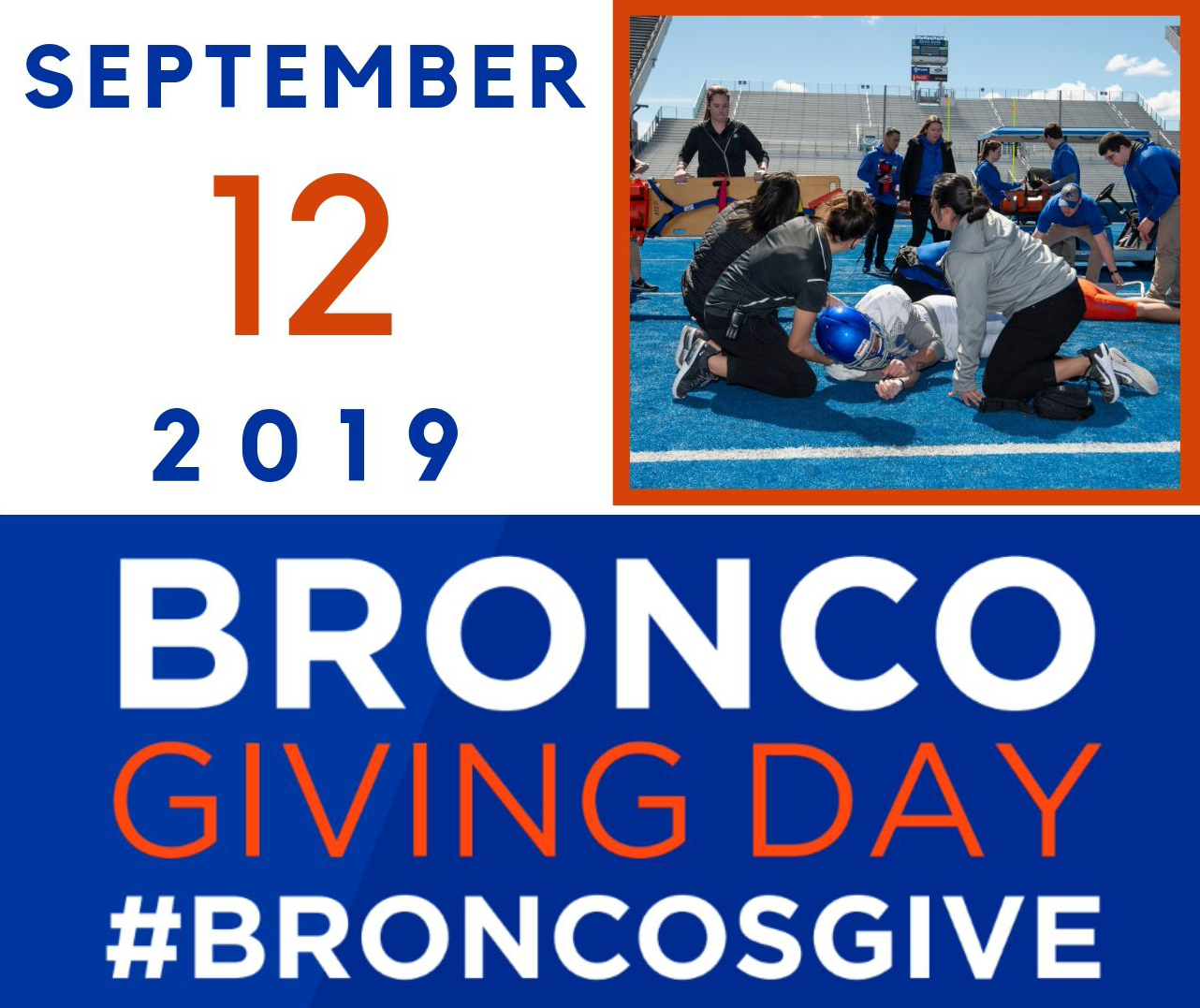 """Graphic that reads """"Bronco Giving Day September 12 2019, #BroncosGive"""" with a picture in the corner of students practicing IPE"""