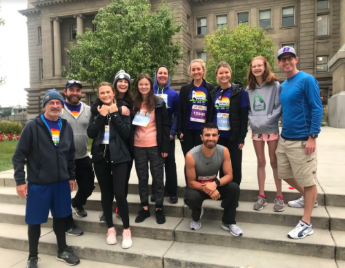 Boise State students, faculty and friends from the radiologic sciences department pose on race day.