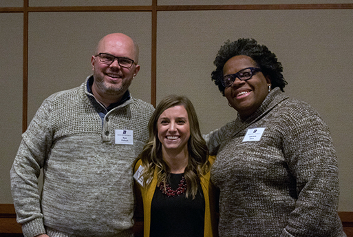 Three of the six preceptor recipients. From left to right, Ryan Forbush, Camille Stover, and Gabrielle Davis