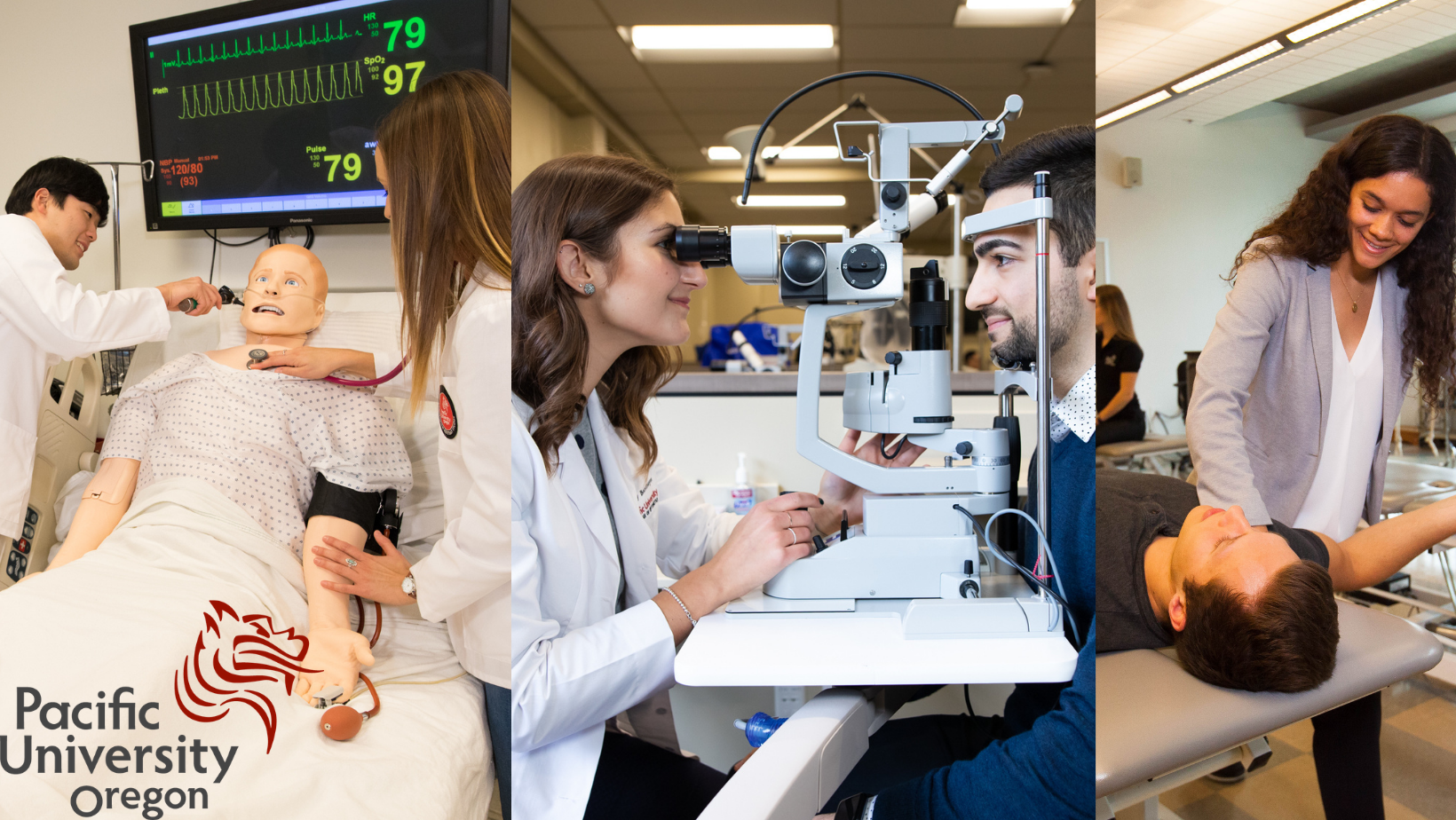 3 photos of students working in the healthcare field