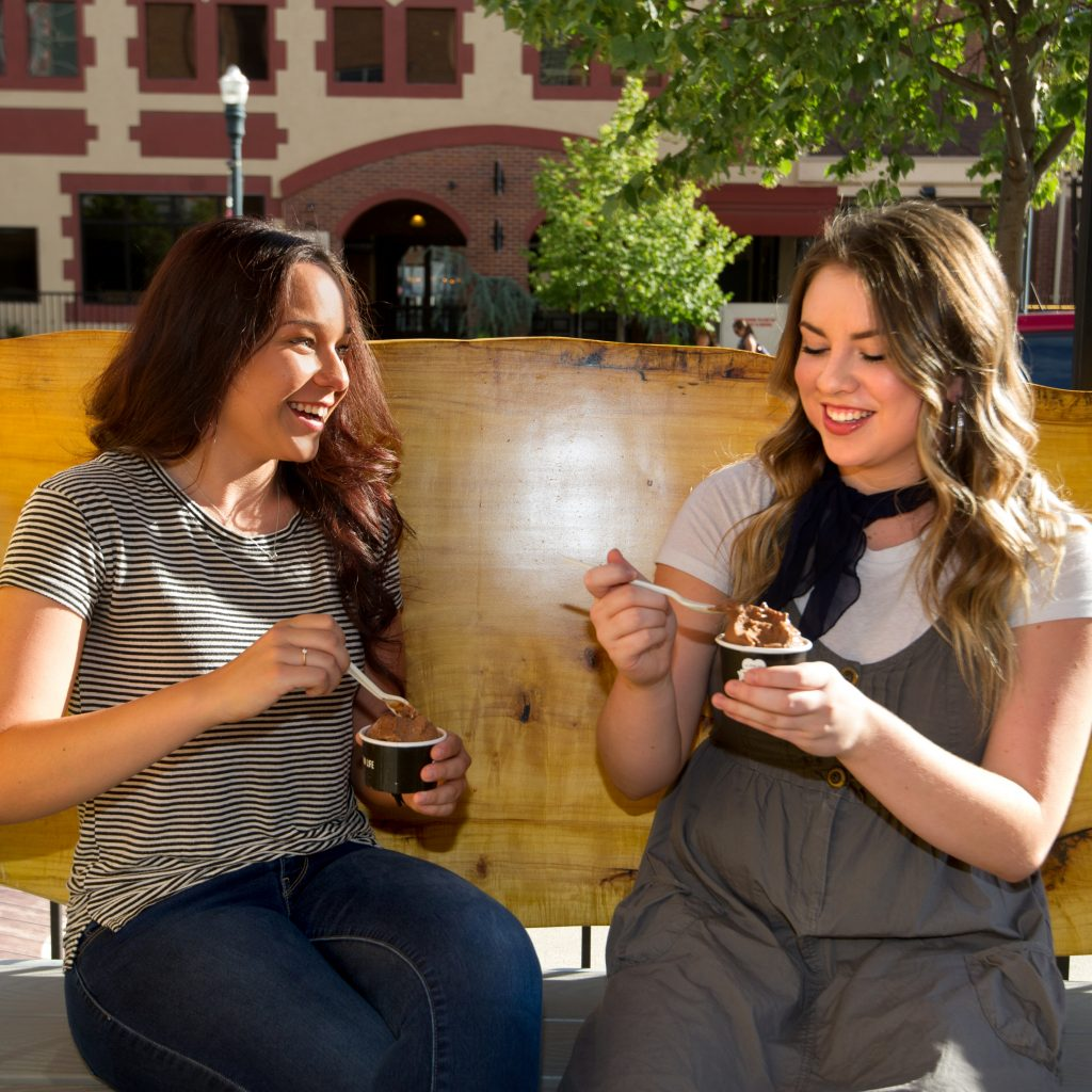 Boise State students enjoy ice cream at The STIL in downtown Boise