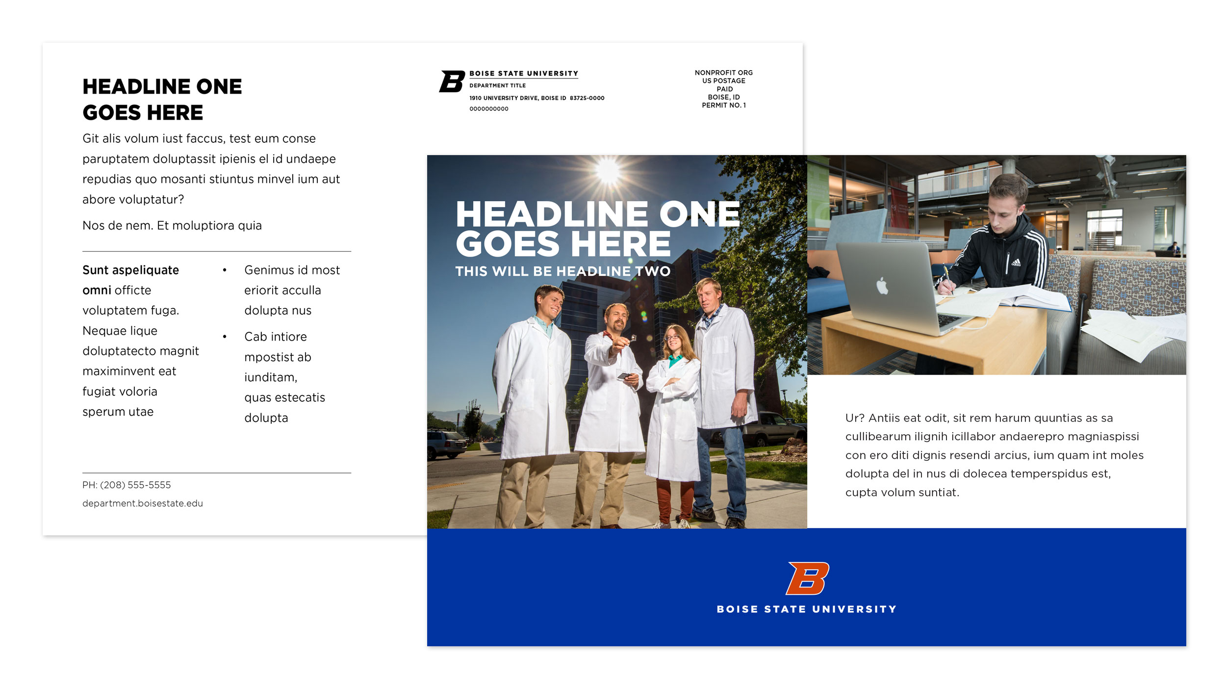 Examples of Boise State oversize postcard designs