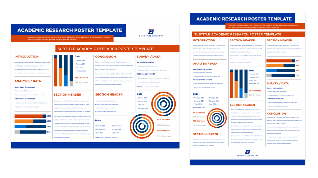 Examples of university research poster designs.