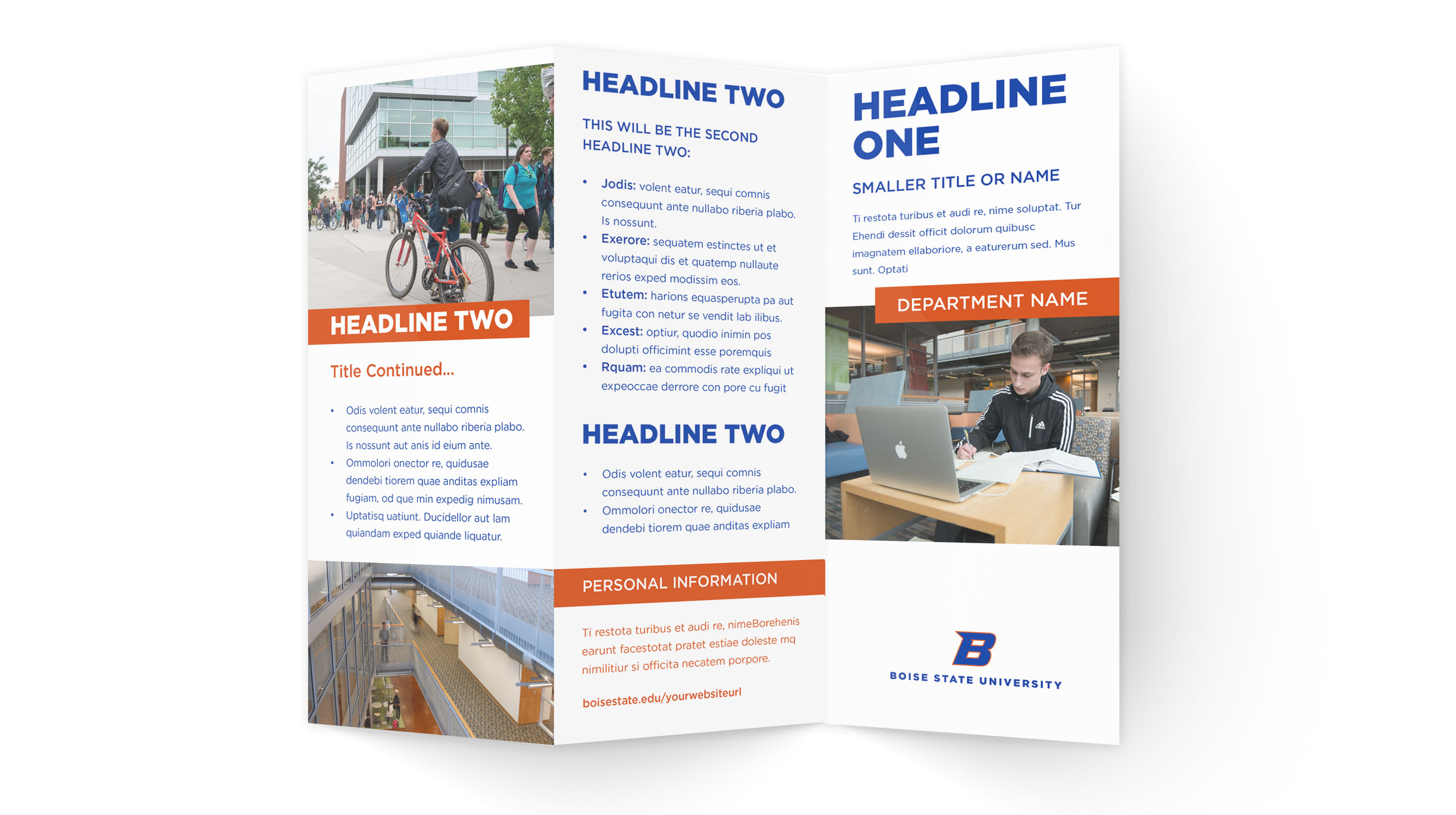 Examples of Boise State trifold brochure designs