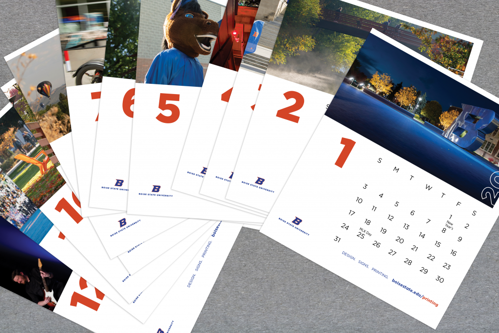 Image shows the 2021 desk calendar cards splayed out on a table.