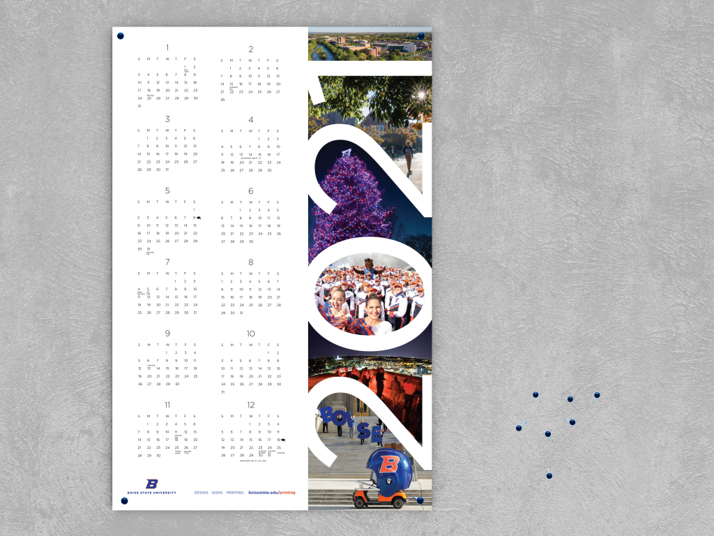 Image shows 2021 Boise State Poster Calendar