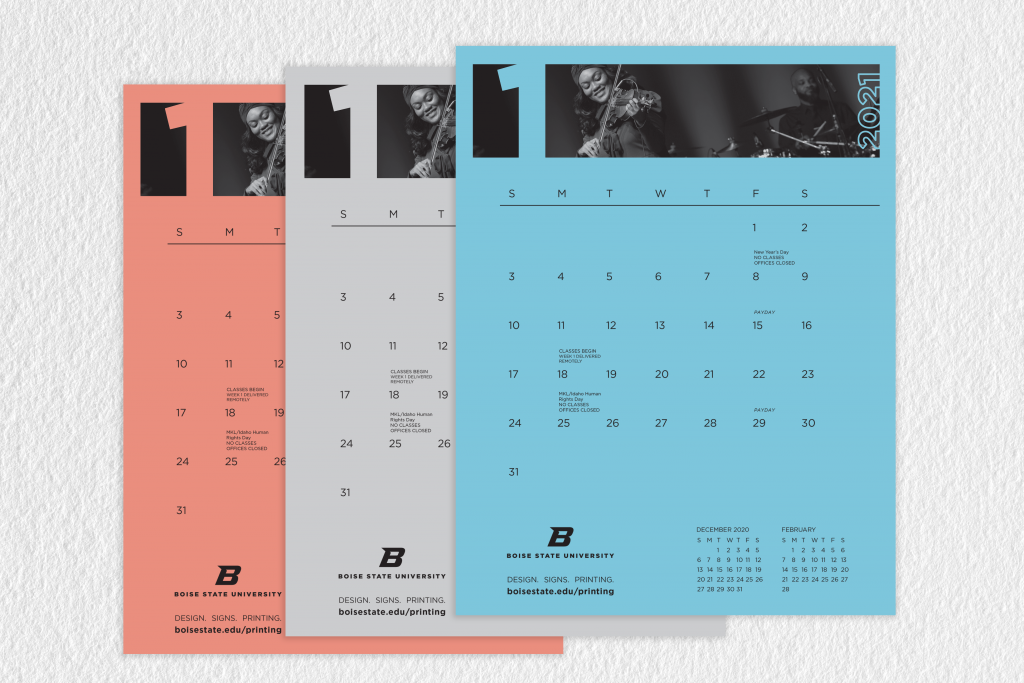 Image shows three Boise State Pad calendars with orange, gray and blue options