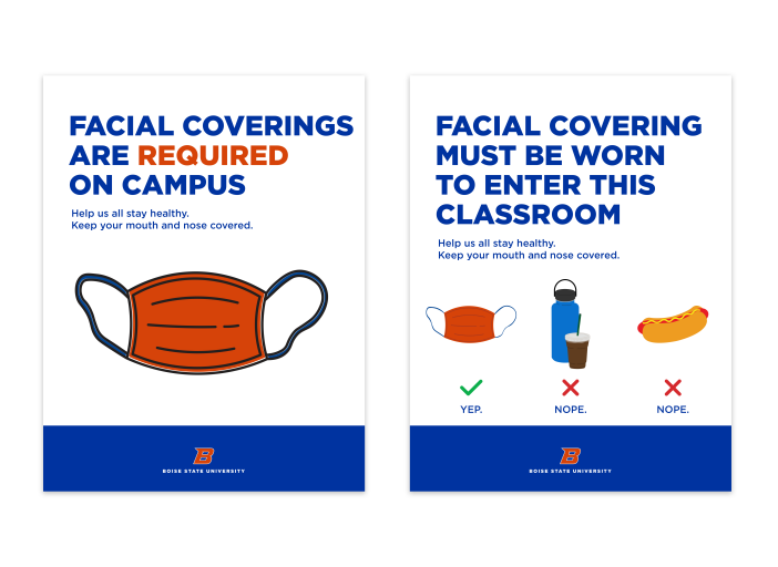 Image shows examples of two COVID mask flyers.