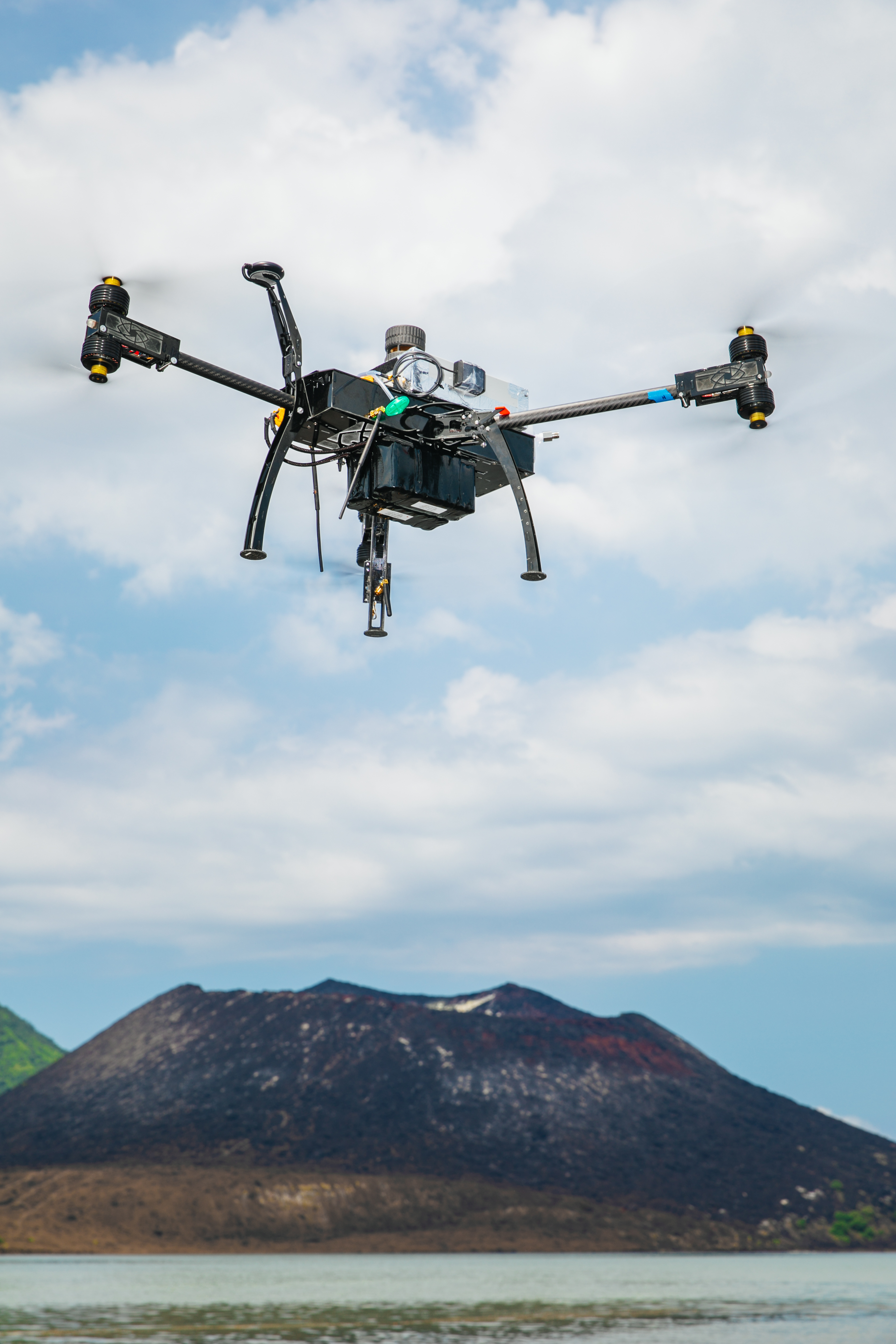 Photograph by Matthew Wordell of drone over a volcano