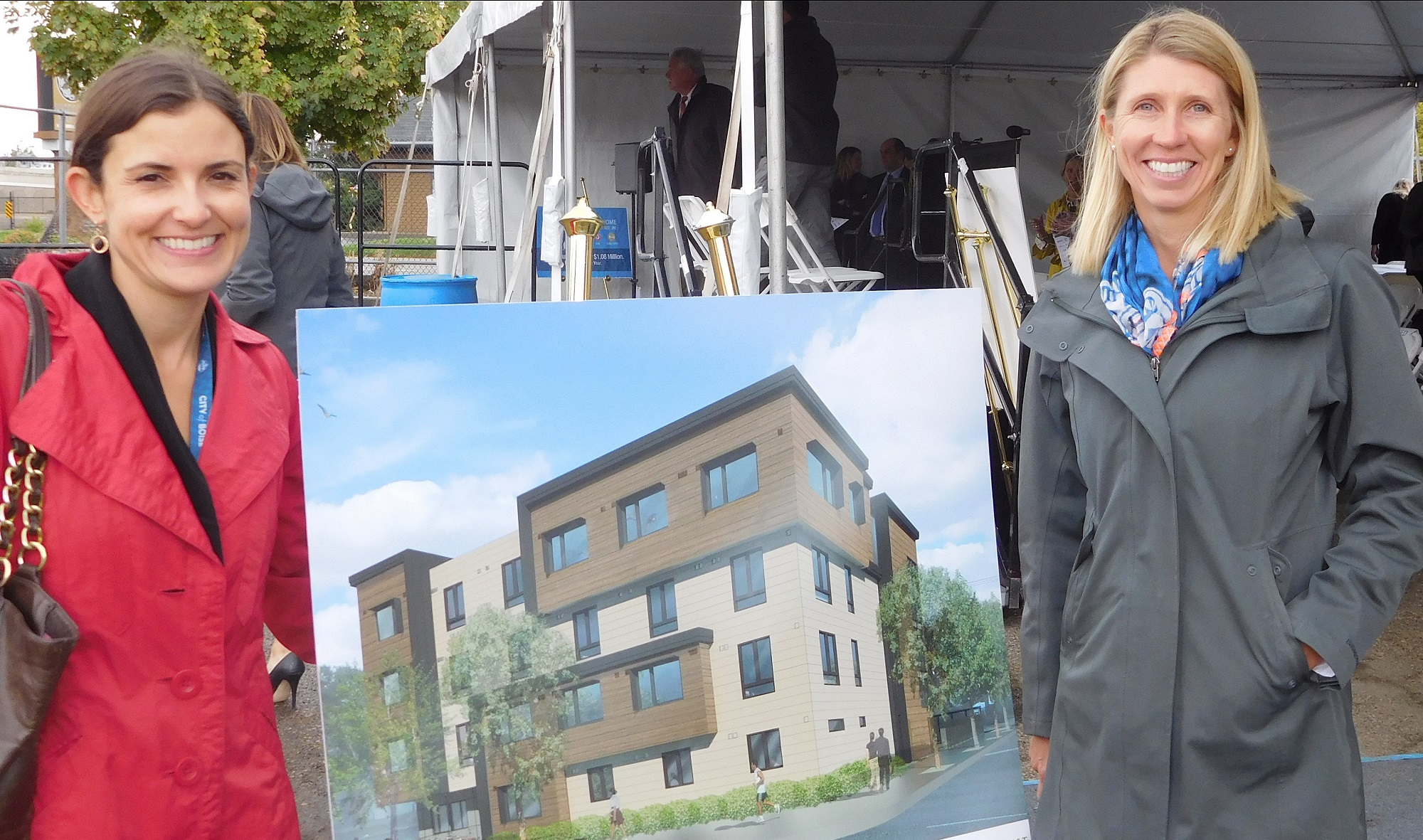 Vanessa Fry and Diana Lachiondo with artist rendering for New Hope building