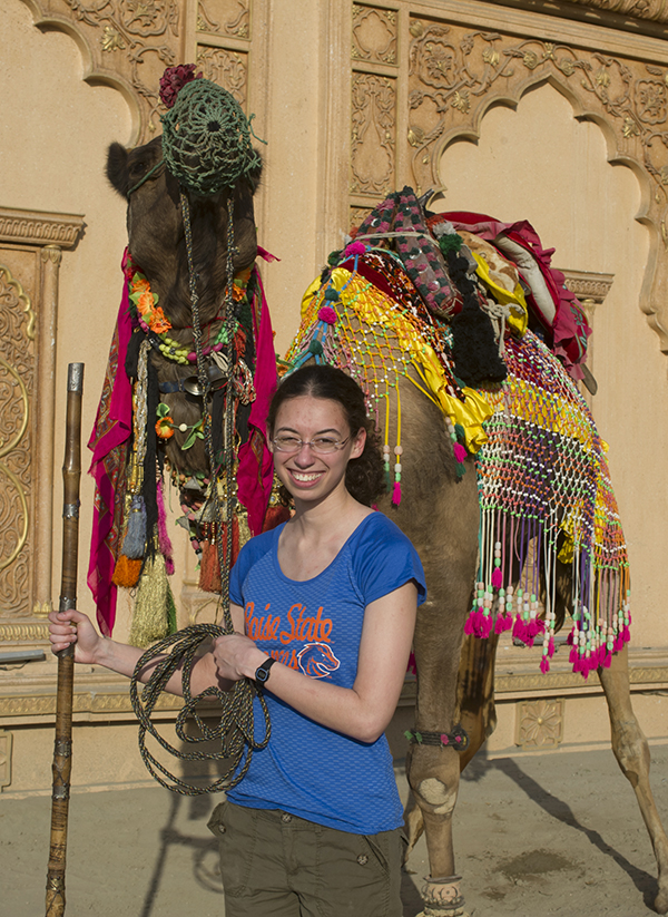 photo of boise state student with camel