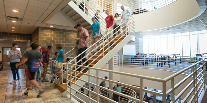 Photo of students climbing stairs