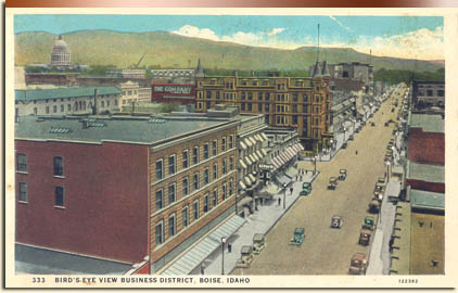 The Idanha Hotel dominates this bird's eye view of Boise, about 1935. City of Boise.