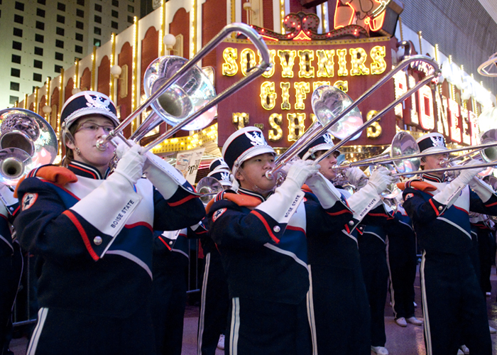 Maaco Bowl Las Vegas, Pep Rally Freemont street, bands and cheerleaders, jk