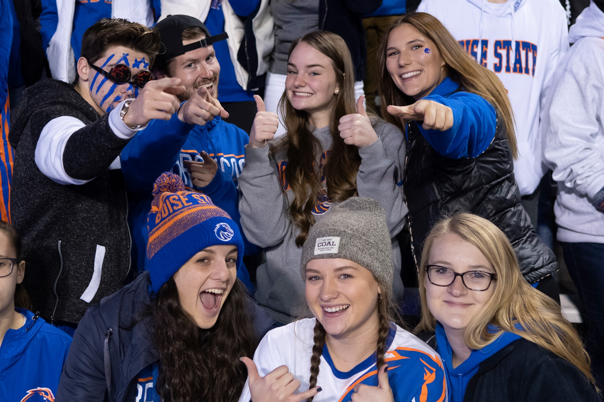 Boise state students in football student section