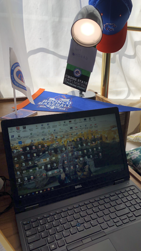Photo of Scott Jurgens remote work state with Boise State gear
