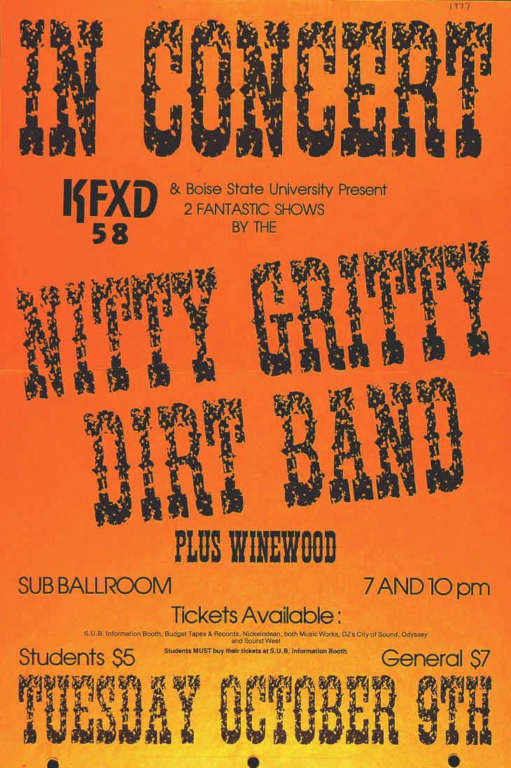 1977 Nitty Gritty Dirt Band concert poster
