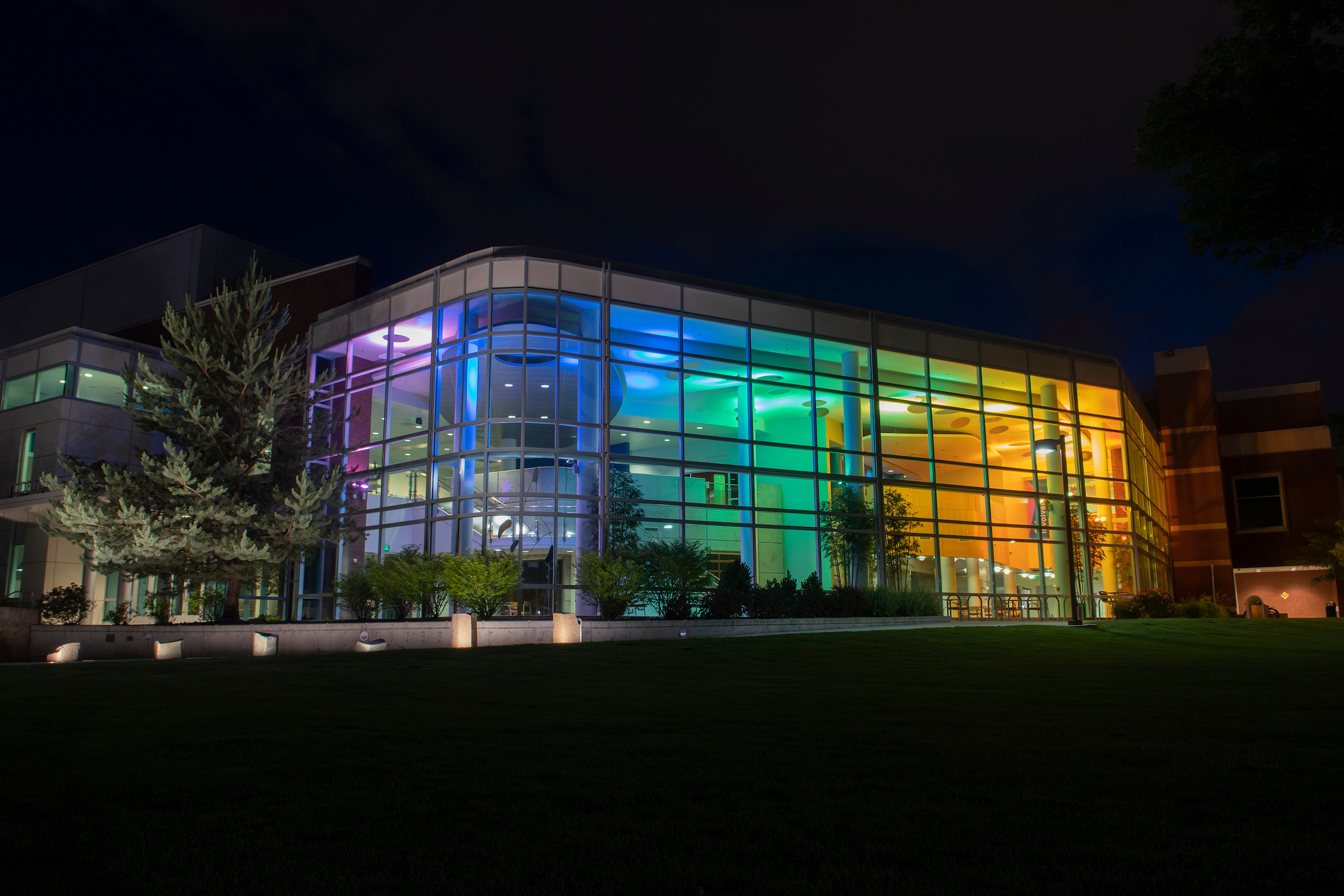 2019: Student Union Building lights up for Pride Week.