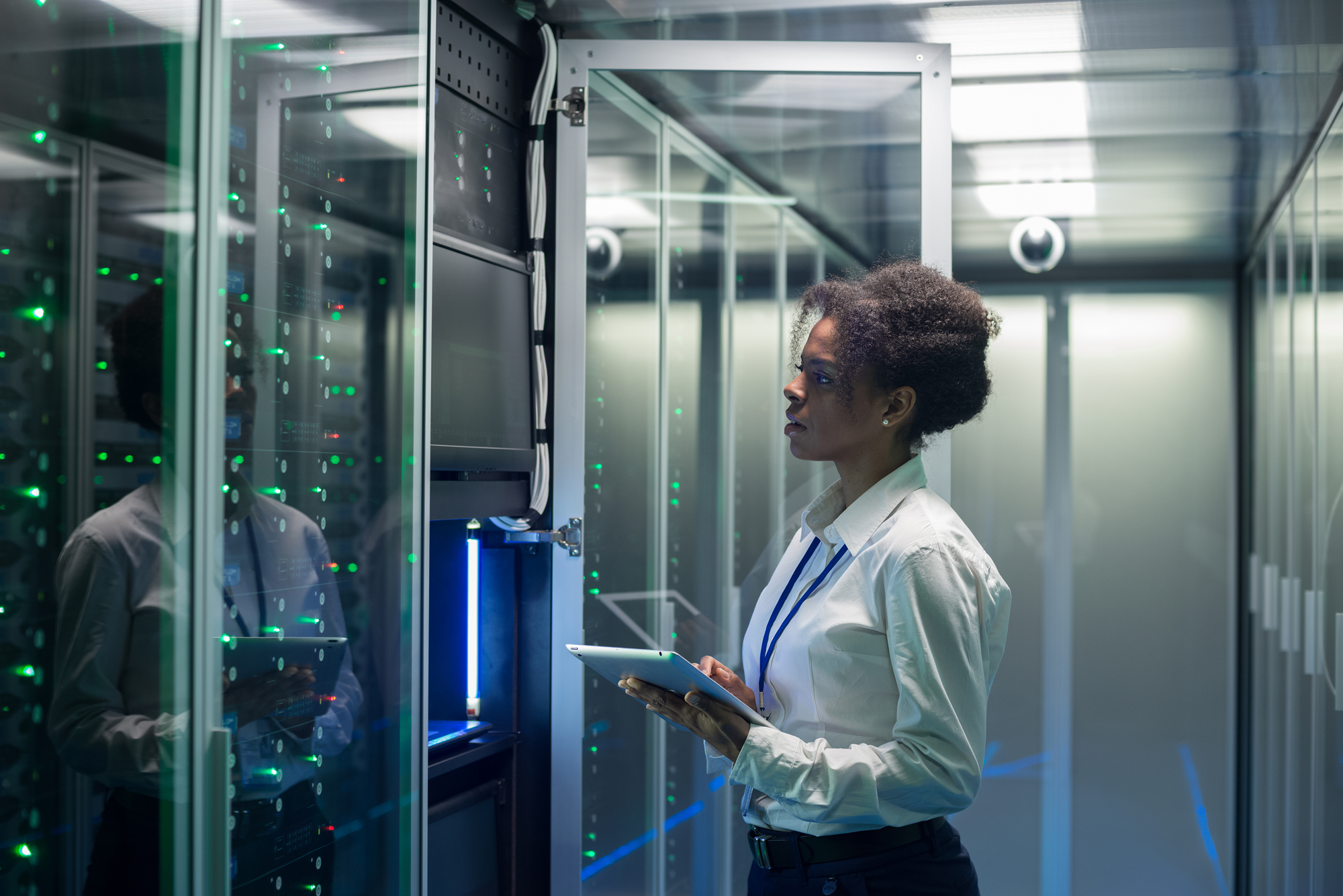 woman in data server room