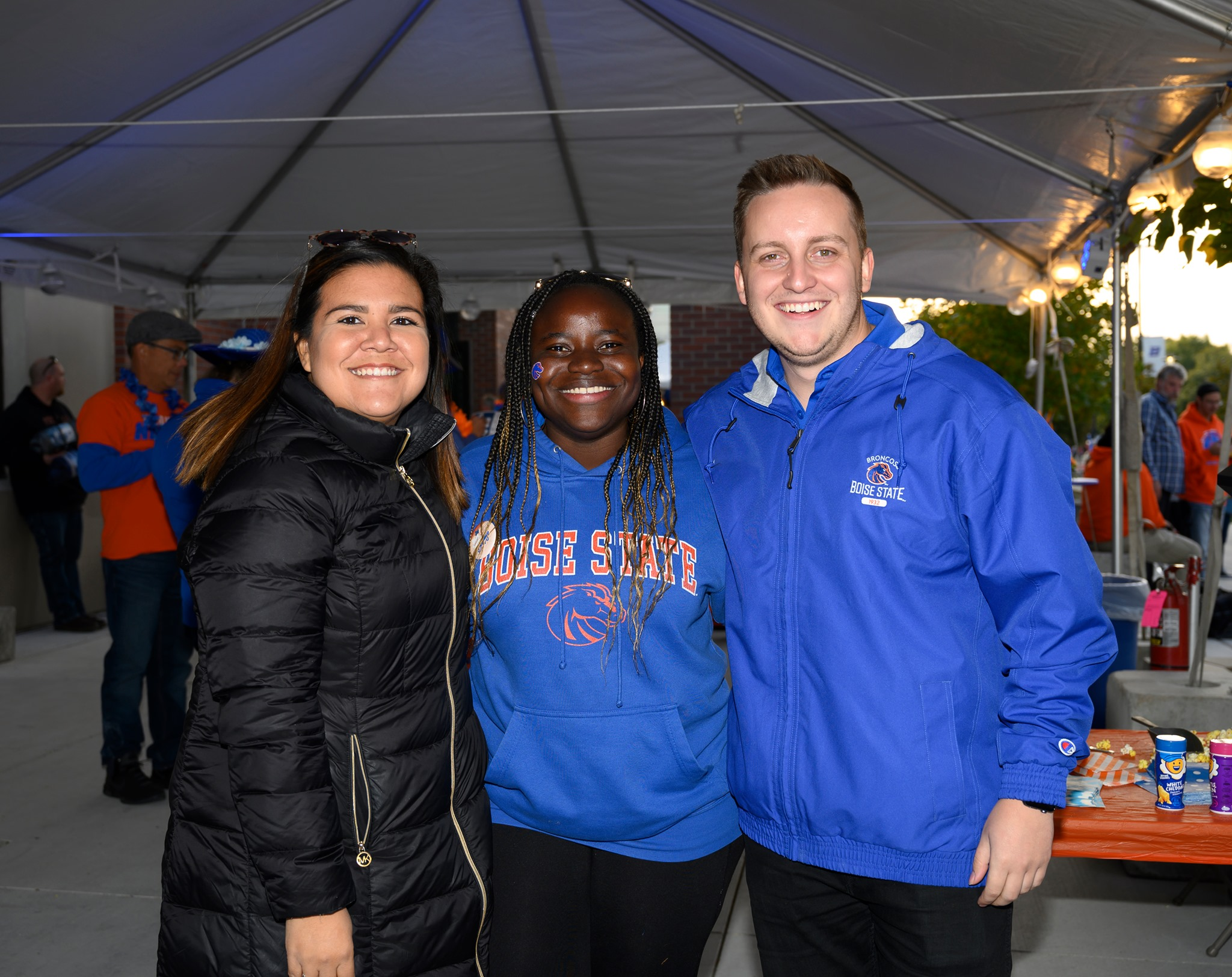 boise state friends. in. tailgating tent