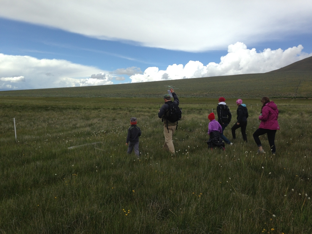 The family search party, heading out to find Borah's transmitter. Photo by Molly Page