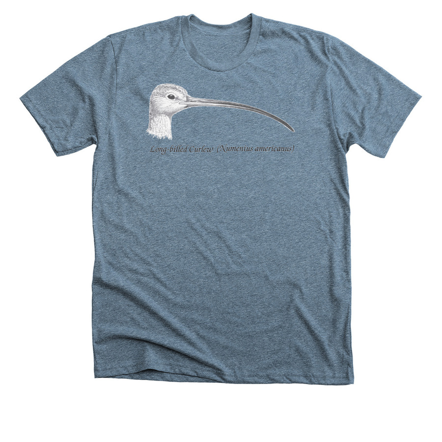 a blue t-shirt with a drawing of a long-billed curlew head