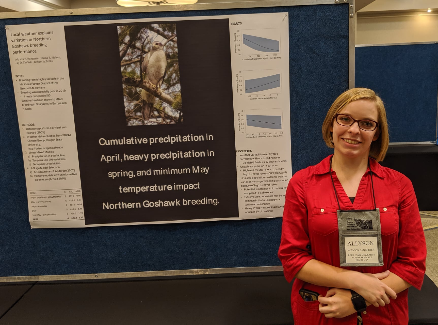 "a student stands next to her poster which reads ""Cumulative precipitation in April, heavy precipitation in spring, and minimum May temperature impact Northern Goshawk breeding"""