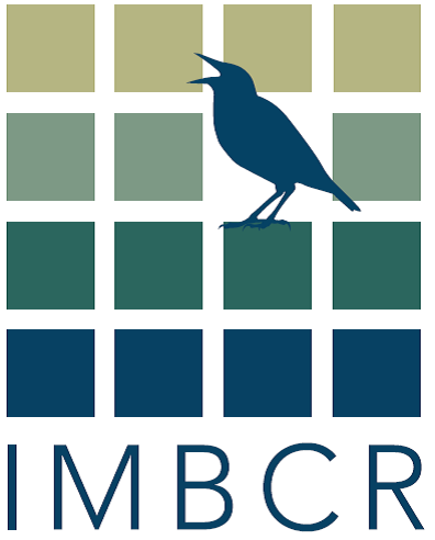 a logo for the IMBCR project displays a grid of squares with a singing silhouette of a bird and the letters IMBCR