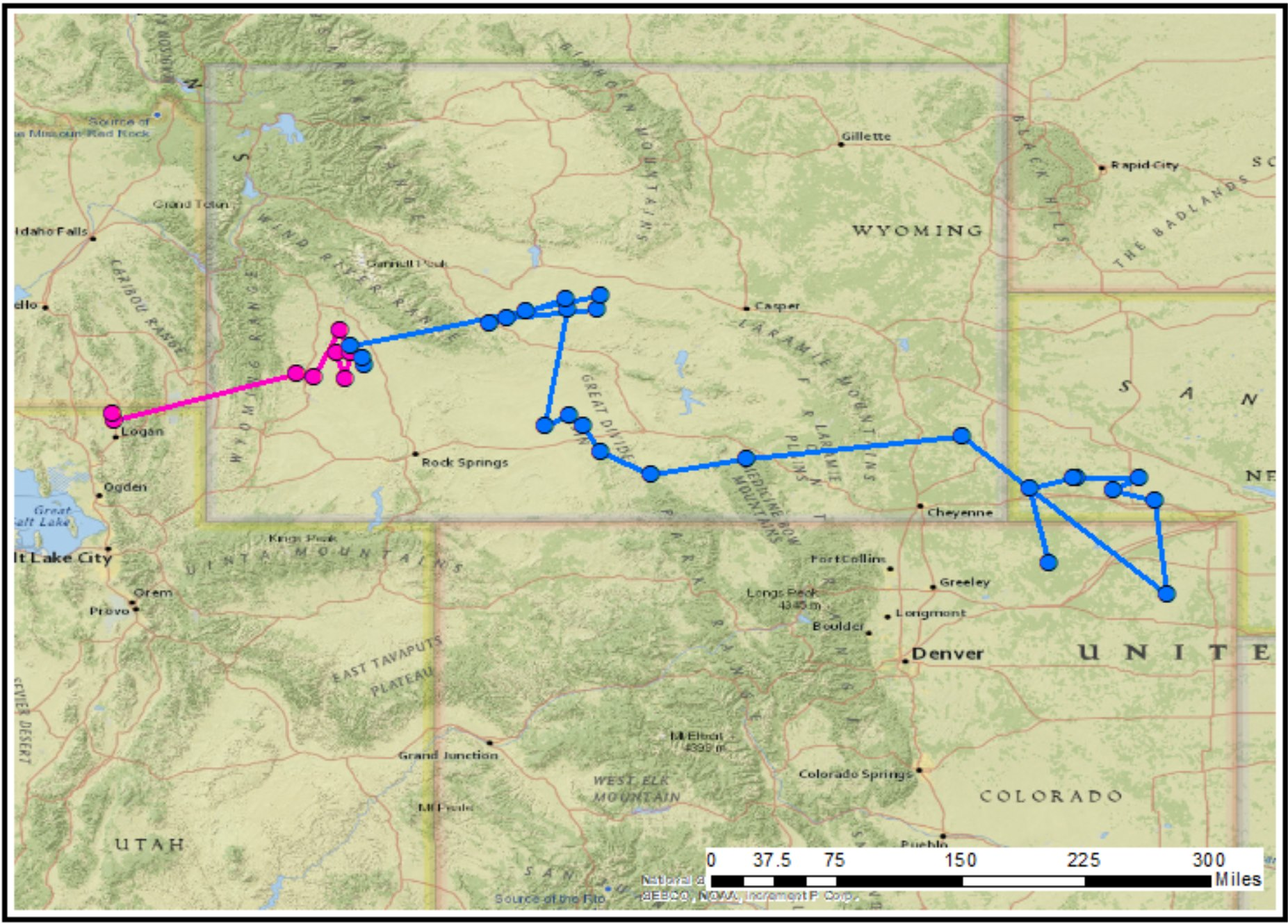 a map shows a zig-zag of lines. A pink track ends near Logan, Utah and begins in western Wyoming. A second blue track begins in western Wyoming and wanders across to Nebraska before ending in northeastern Colorado