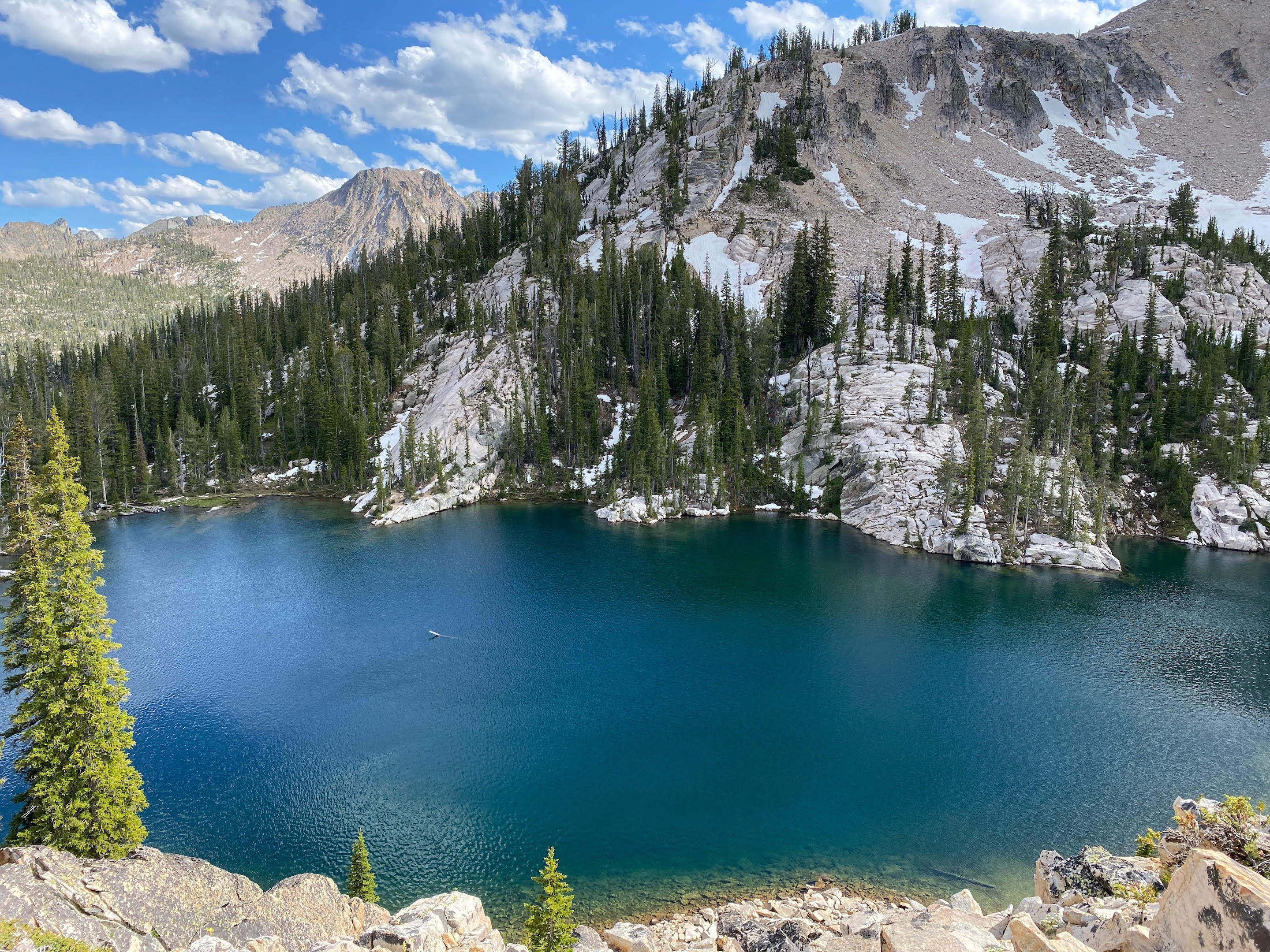 a beautiful mountain lake surrounded by spruce forest and high alpine scree and talus slopes