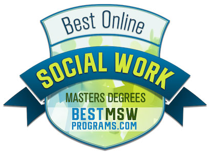 Best Online Masters of Social Work degree programs badge from bestmswprograms.com