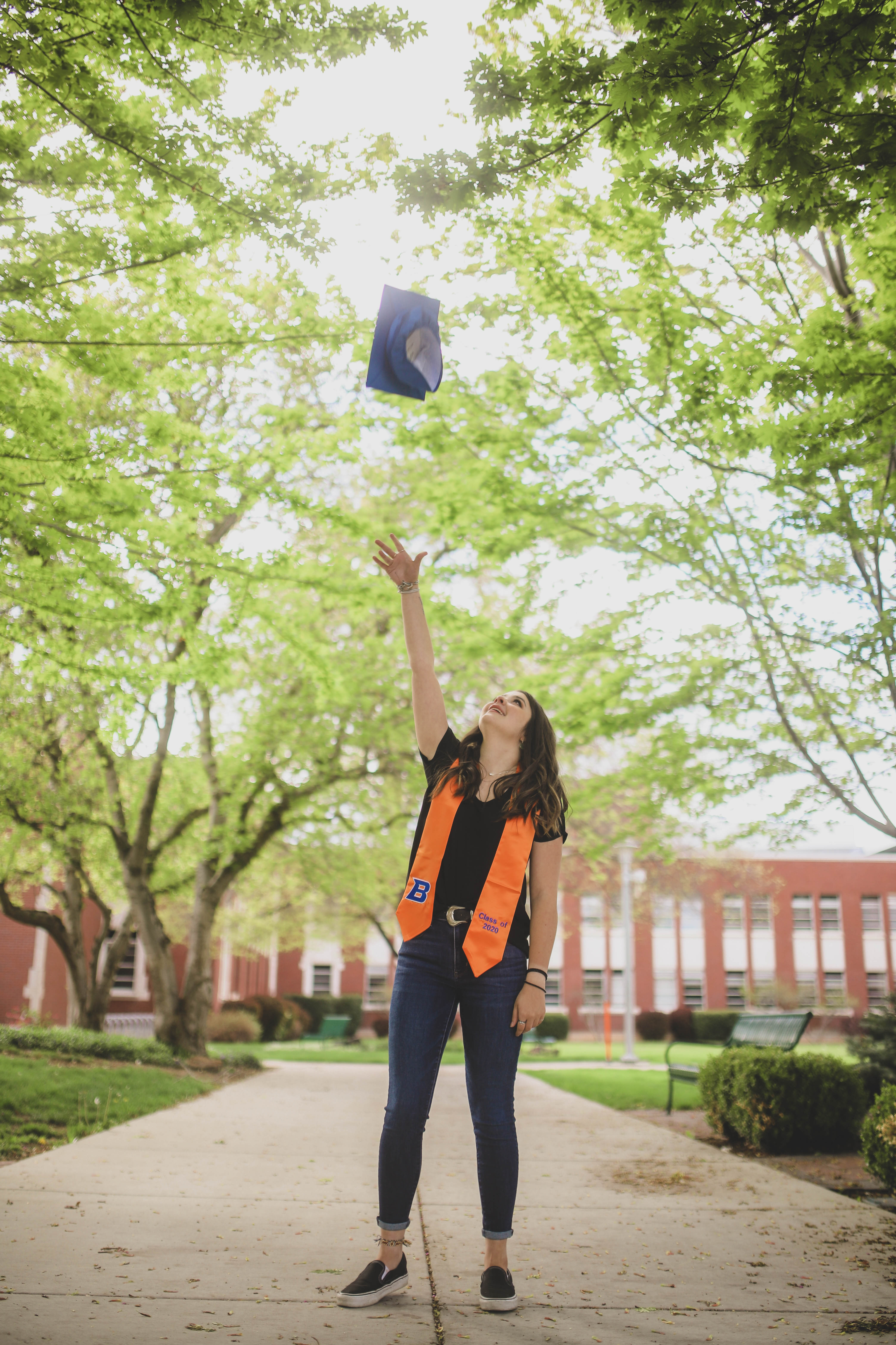 Casey Longstreth poses on campus for #OnlineBroncoGrad campaign.