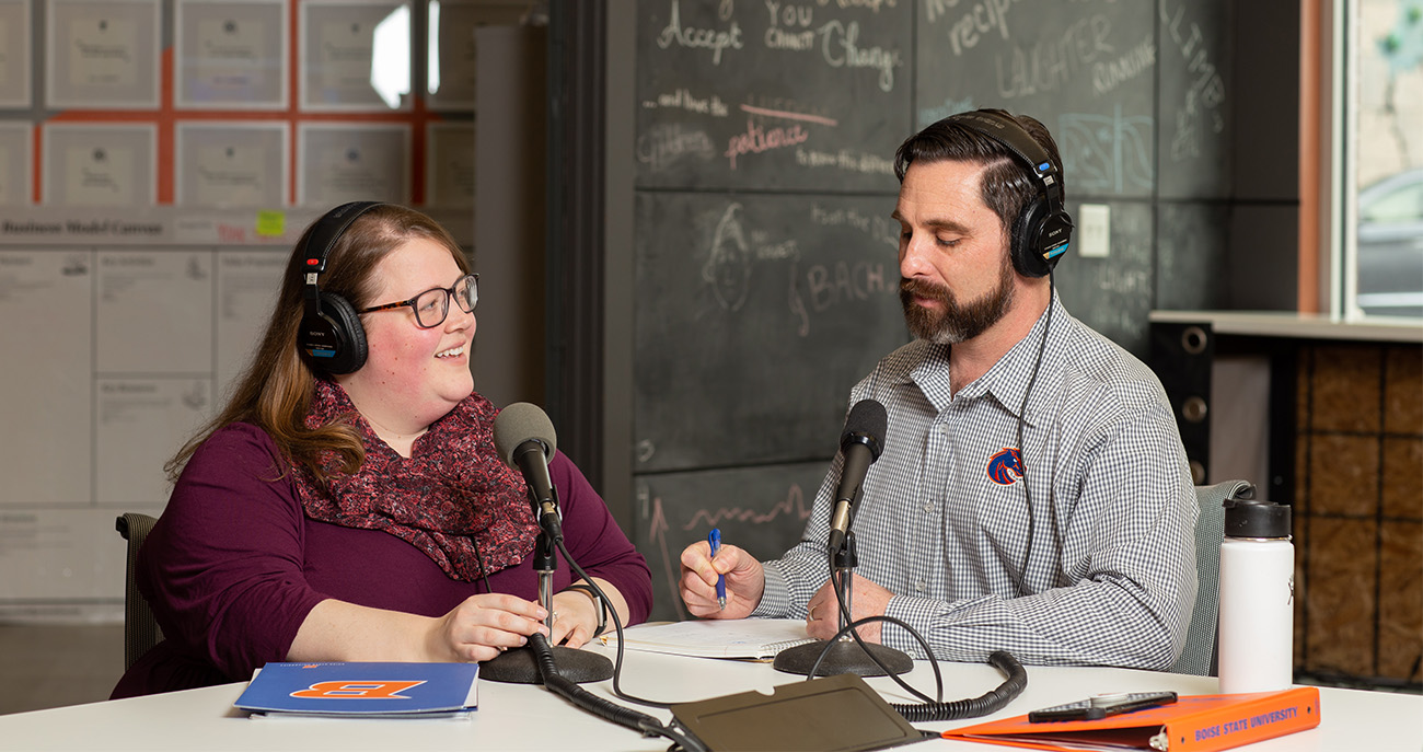 Man and Woman Podcasting