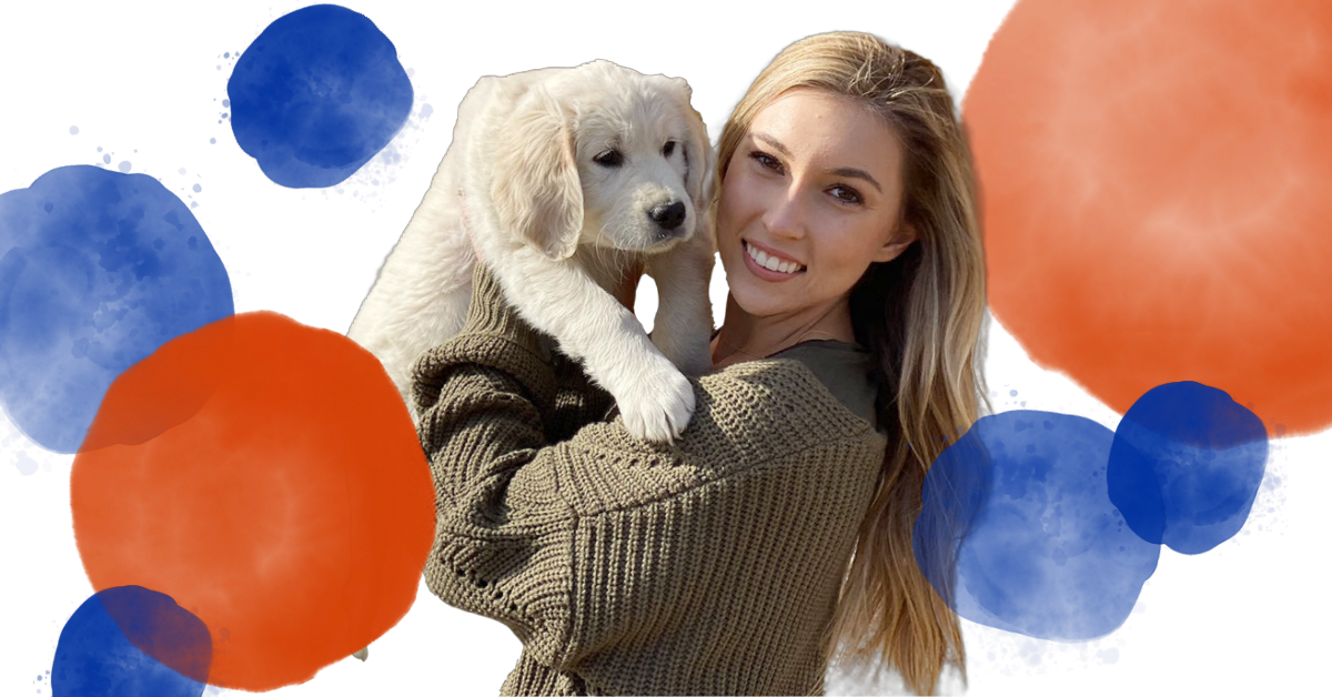Jessika Wass poses with her puppy.
