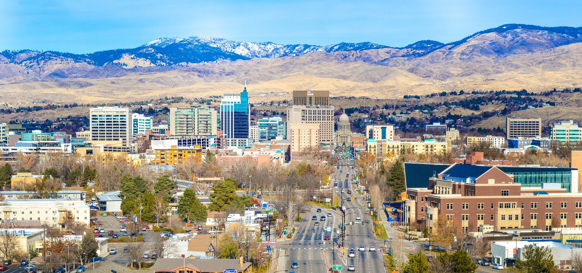 Downtown Boise with foothills in distance, photograph