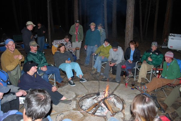 Hanging out around the campfire at Helende Campground during a geomorph trip.