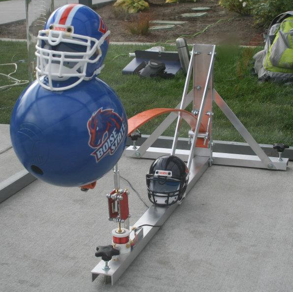 Bowling Ball Seismometer display at a BSU football game.