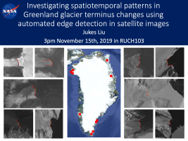 Investingatin spatiotemporal patterns in Greenland glacier terminus changes using sutomated edge detection in satellite images by Jukes Liu