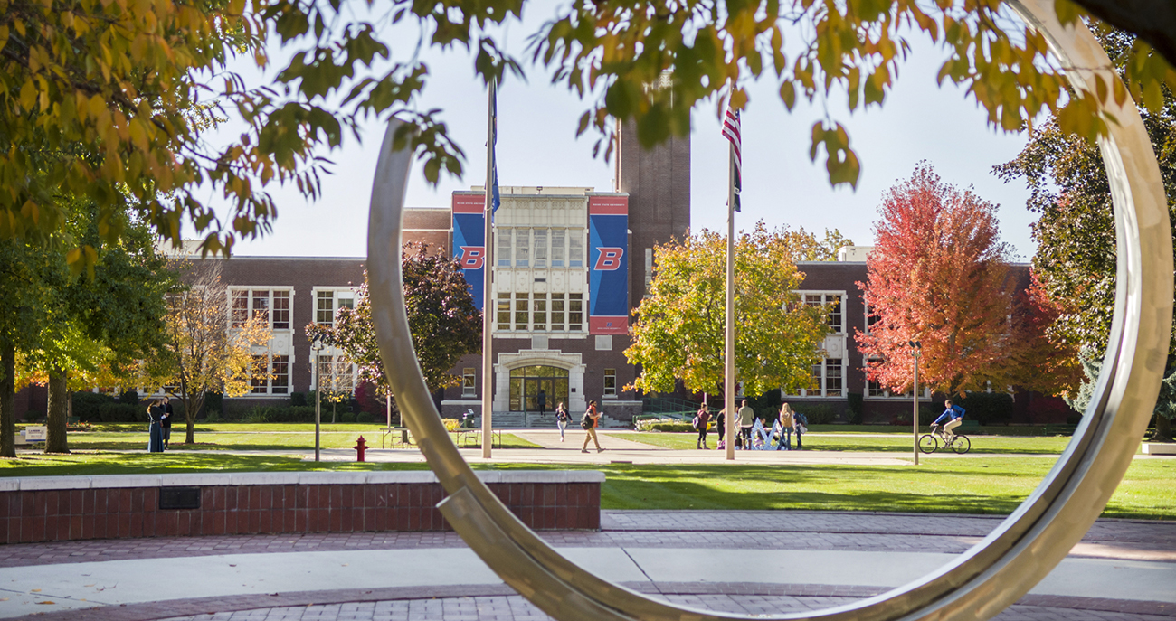 Photo of the Administration building from the Quad
