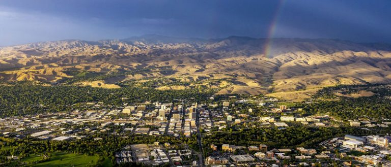 Treasure Valley overhead view with rainbow.