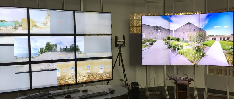 large tv screens stacked to show immersive reality